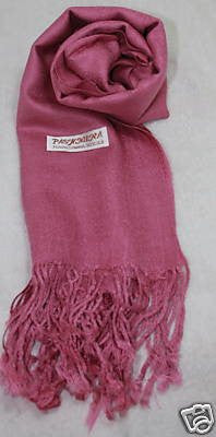 Fair Trade 70% Pashmina(Cashmere) 30% SILK Shawl Rose Pink