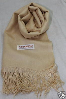 Fair Trade 70% Pashmina(Cashmere) 30% SILK Shawl Beige