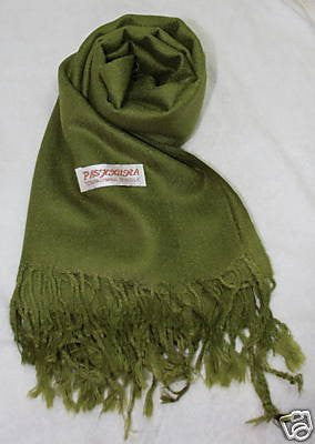 Fair Trade 70% Pashmina(Cashmere) 30% SILK Shawl Olive Green