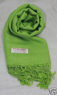 Fair Trade 70% Pashmina(Cashmere) 30% SILK Shawl Green