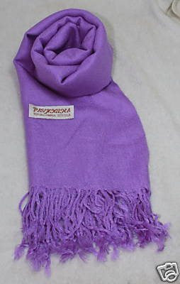 Fair Trade 70% Pashmina(Cashmere) 30% SILK Shawl Purple