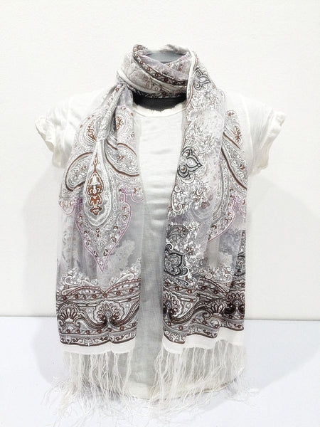 Lovely Hand Made Thai Floral Scarf Shawl White