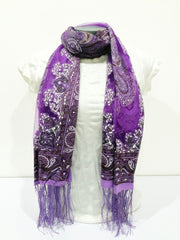 Lovely Hand Made Thai Floral Scarf Shawl Purple