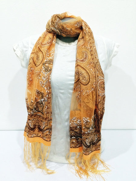 Lovely Hand Made Thai Floral Scarf Shawl Gold