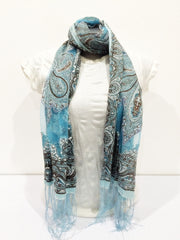 Lovely Hand Made Thai Floral Scarf Shawl Light Blue