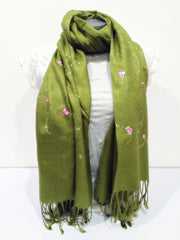Fair Trade Hand Made Nepal Pashmina Scarf Shawl Embroidered Flowers Olive