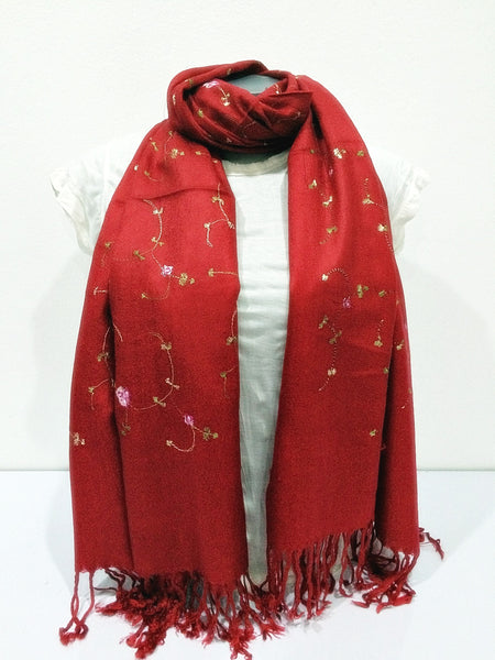 Fair Trade Hand Made Nepal Pashmina Scarf Shawl Embroidered Flowers Red