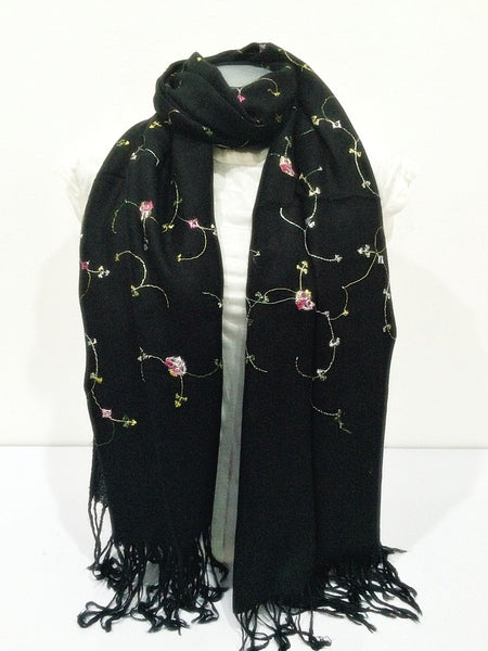 Fair Trade Hand Made Nepal Pashmina Scarf Shawl Embroidered Flowers Black