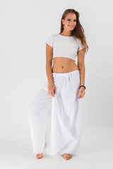 Women's Thai Harem Double Layers Palazzo Pants in Solid White