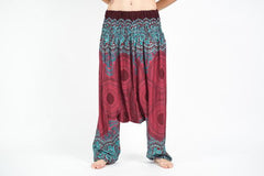 Geometric Mandalas Low Cut Harem Pants in Red