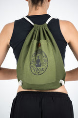 Yoga Stamp Drawstring Cotton Canvas Backpack in Olive Green