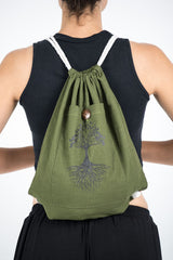 Tree of Life Drawstring Cotton Canvas Backpack in Olive Green