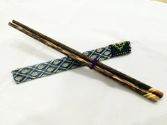 1 Pair Mango Wood ChopSticks With Thai Hill Tribe Holders