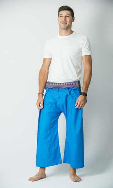 Cotton Thai Fisherman Yoga Massage Pants Blue