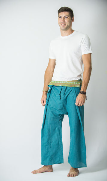 Cotton Thai Fisherman Yoga Massage Pants Turquoise