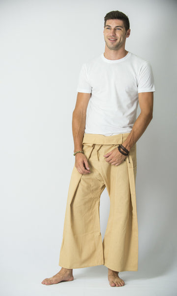 Cotton Thai Fisherman Yoga Massage Pants Solid Cream