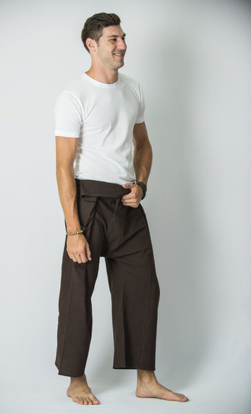 Cotton Thai Fisherman Yoga Massage Pants Solid Brown