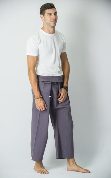 Cotton Thai Fisherman Yoga Massage Pants Solid Grey