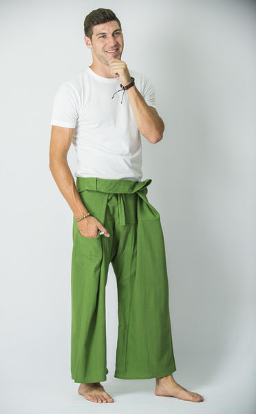 Cotton Thai Fisherman Yoga Massage Pants Solid Lime