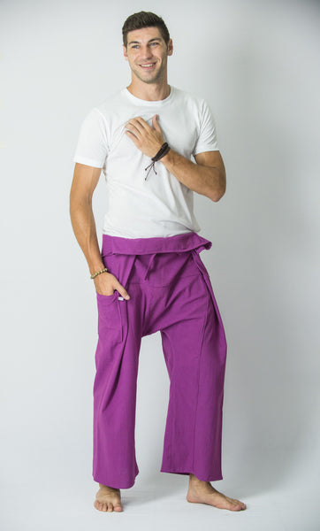 Cotton Thai Fisherman Yoga Massage Pants Solid Purple
