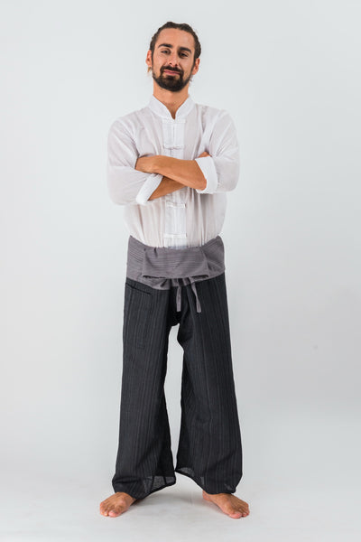 Cotton Thai Fisherman Yoga Massage Pants Two Tone Black Grey