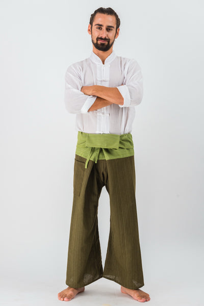 Cotton Thai Fisherman Yoga Massage Pants Two Tone Olive Green