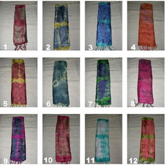 Wholesale set of 10 Thai Silk Scarves Tie Dye