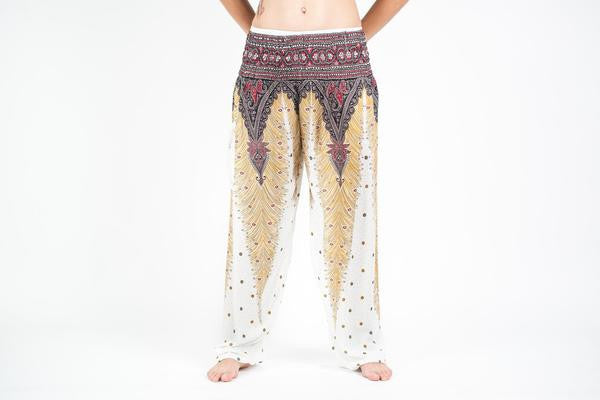 Peacock Feathers Harem Pants in White