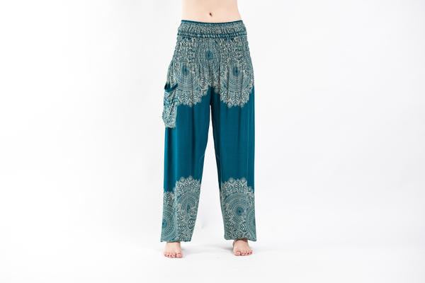 Floral Mandalas Harem Pants in Turquoise