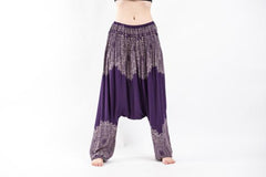 Floral Mandalas Low Cut Harem Pants in Purple