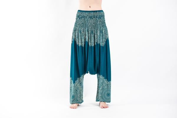 Floral Mandalas Low Cut Harem Pants in Turquoise