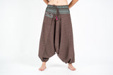 Thai Hill Tribe Cotton Fisherman Low Cut Harem Pants Brown