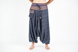 Thai Hill Tribe Cotton Fisherman Low Cut Harem Pants Steel Blue