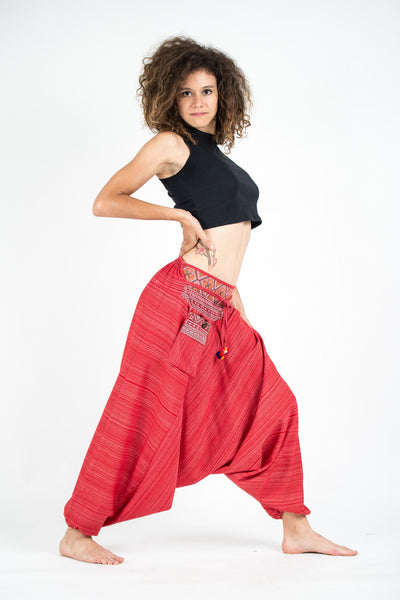 Thai Hill Tribe Cotton Fisherman Low Cut Harem Pants  Red