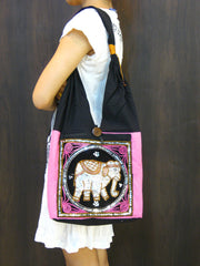 Beautiful Thai Hand Made Elephant Embroidered Handbag in Pink