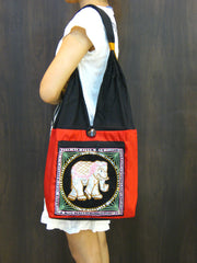 Beautiful Thai Hand Made Elephant Embroidered Handbag in Red