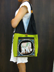 Beautiful Thai Hand Made Elephant Embroidered Handbag in Lime