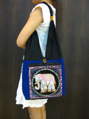 Beautiful Thai Hand Made Elephant Embroidered Handbag in Blue