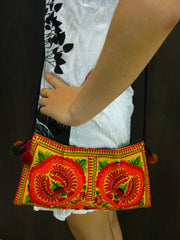 Hand Made Thai Hmong Embroidered Clutch Bag Orange