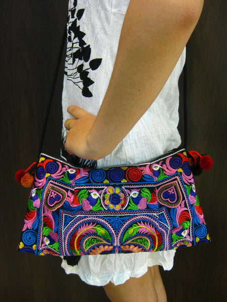Hand Made Thai Hmong Embroidered Clutch Bag Rainbow