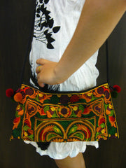Hand Made Thai Hmong Embroidered Clutch Bag Brown