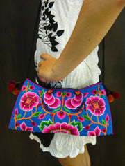 Hand Made Thai Hmong Embroidered Clutch Bag Pink