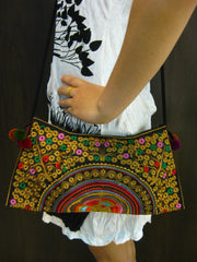 Hand Made Thai Hmong Embroidered Clutch Bag Gold