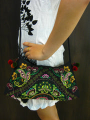 Hand Made Thai Hmong Embroidered Clutch Bag Green