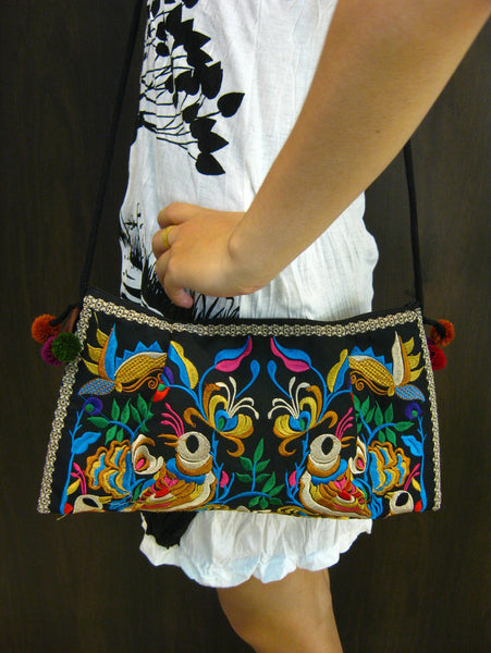 Hand Made Thai Hmong Embroidered Clutch Bag Black