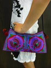 Hand Made Thai Hmong Embroidered Clutch Bag Purple