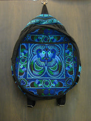 Thai Hill Tribe Embroidered Backpack in Blue