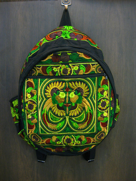 Thai Hill Tribe Embroidered Backpack in Green