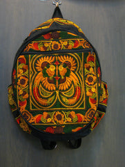 Thai Hill Tribe Embroidered Backpack in Orange