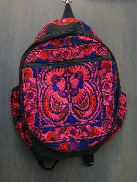 Thai Hill Tribe Embroidered Backpack in Pink